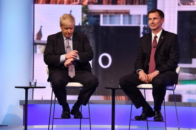 Boris Johnson (left ) and Jeremy Hunt during the BBC debate featuring the contestants for the leadership of the Conservative Party (Image: PA)