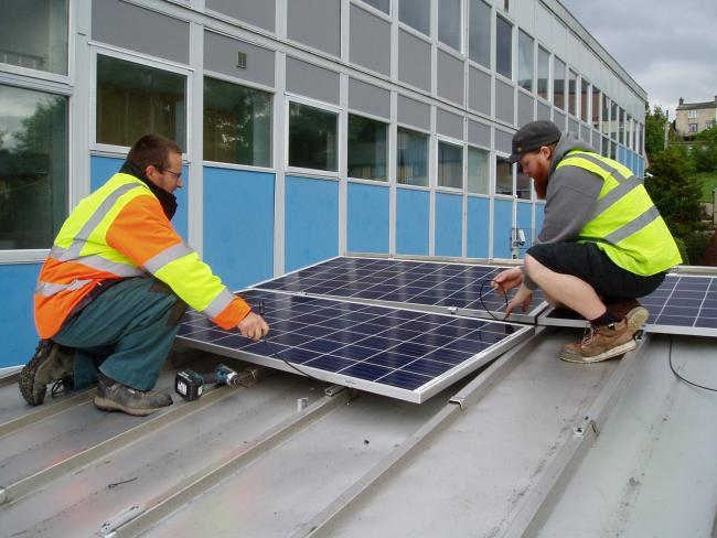 Alston Moor Community Energy. Alston Primary and Samuel Kinds Secondary getting solr panels fitted. PICTURE: Business, Energy and Industrial Strategy media officer. June 20, 2019.