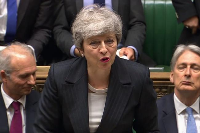 Theresa May at Prime Minister's Questions in the House of Commons