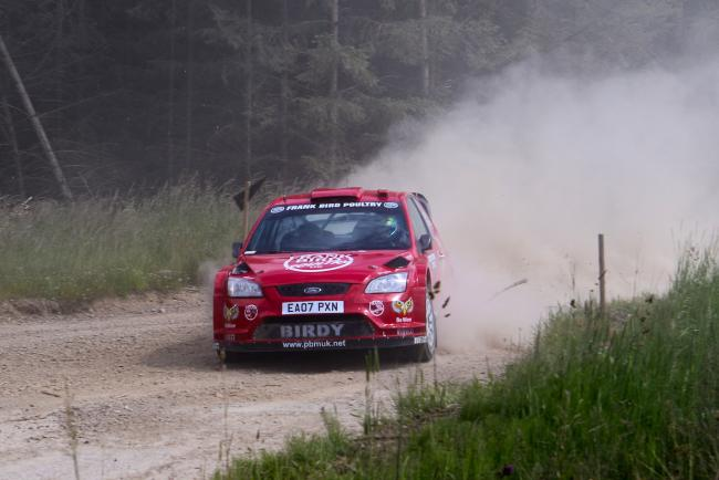 Victorious: Frank Bird and Jack Morton in their Ford Focus 07 WRC during the Greystoke Stages (Photo: Sideways Media, www.sidewaysmedia.net)