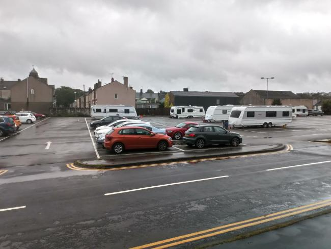 Travellers have set up camp at Central car park in Workington
