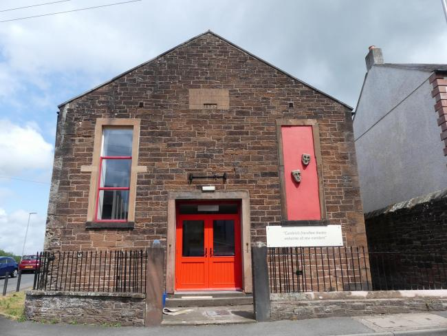 Bright red: Wigton Theatre Club have had their new doors fitted            Picture: Connie Jensen