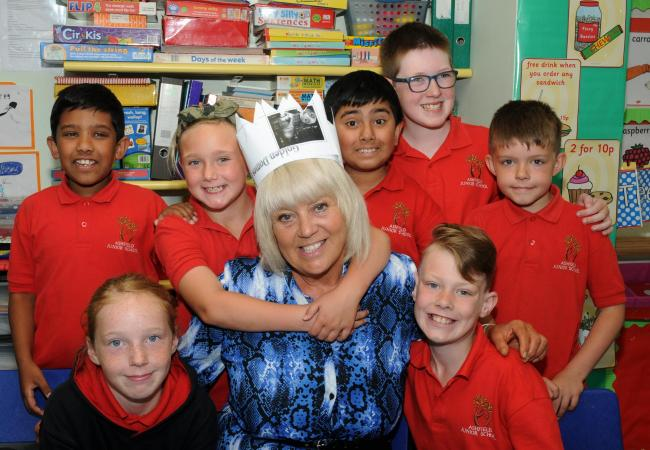 Ashfield Junior School, Workington.  Teaching Assistant, Lesley Ann Heron Retires after 34 Years. 18 July 2019...Lesley Ann with her current Treetops Class. Back ro left to right, Sakib Hussain, Annabelle Weaver, Mustofa Ali, Tyler Hornick, John Hall. Fro