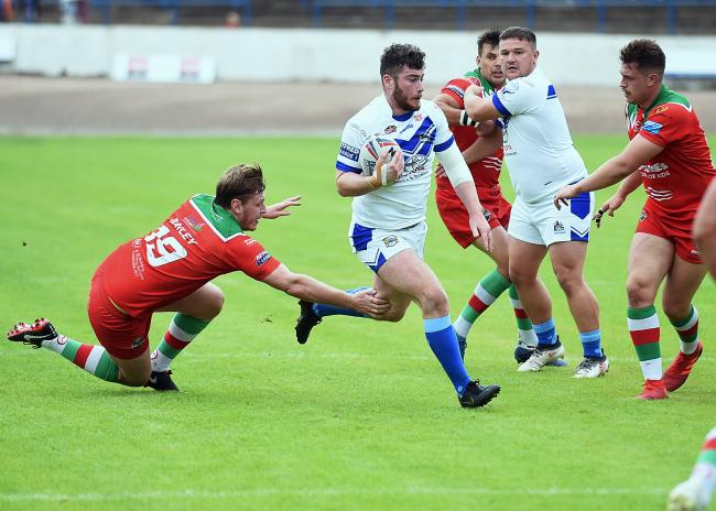 STAR: Declan O'Donnell runs in to score against Keighley
