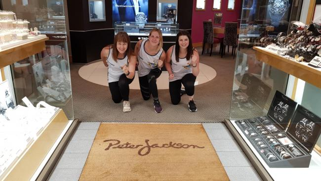 STAFF: Karen Baxter, Sian Gibson and Louise Taylor from Peter Jackson jewellers will be running            Picture: Eden Valley Hospice