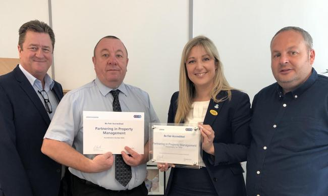 Proud: PPM's managing director Gordon McGregor and Beth Nicholls, PPM's communications and development manager and Be FaIR Champion