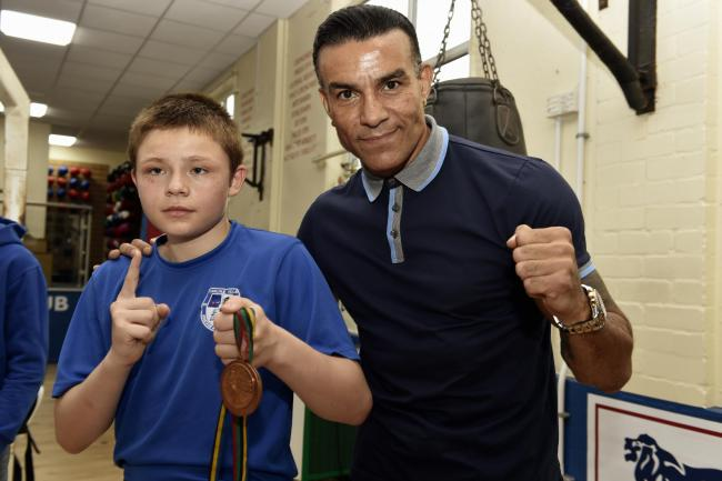 Meeting stars: Carlisle Villa ABC's Orlando Quinn, left, alongside former world champion Robin Reid (Photo: Louise Porter)