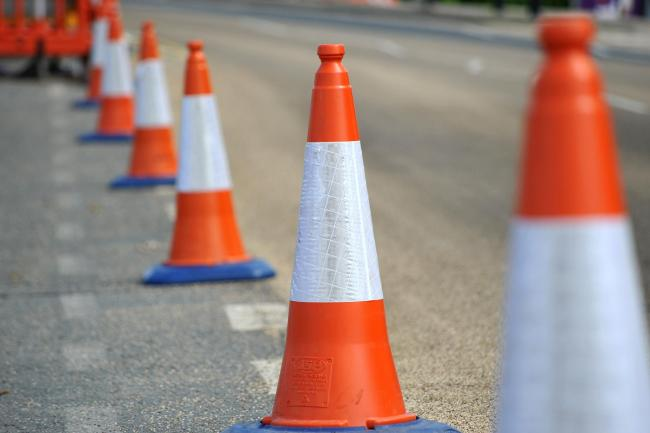 Stock photograph of traffic cones