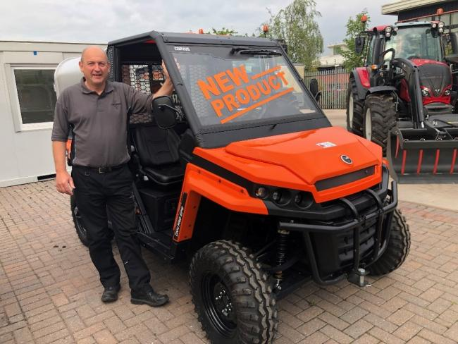 David Winthrop, vehicle sales specialist at Johnston Tractors, with the new Corvus TerrainDX4 UTV
