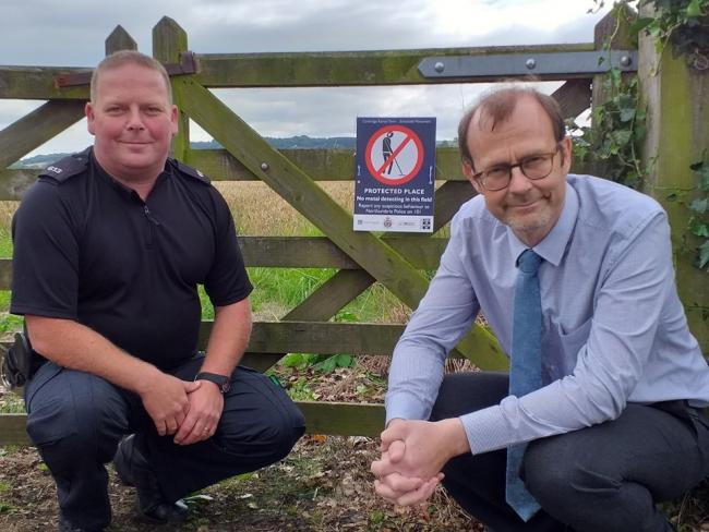 Protected site: Mike Collins, from Historic England, and PC Lee Davison are working together to try and stop 'nighthawks' stealing from Hadrian's Wall