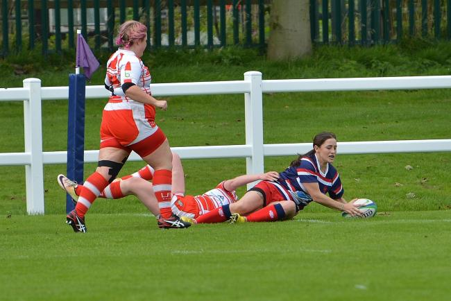 First-ever try: Chrissie Hadfield scores for Carlisle (Photo: Bill Glendinning)