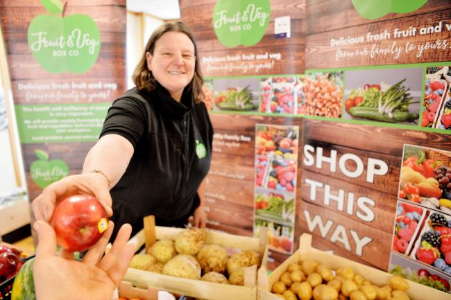Nicola Myers runs the Fruit & Veg Box Company which does pop up shops accross the county. like this one in West Cumberland Hospital..PHOTO TOM KAY         28 MARCH 2019.............................