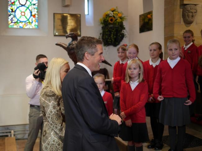 Minister: Gavin Williamson with Wreay School pupils at St Mary's Church Picture: Diocese of Carlisle