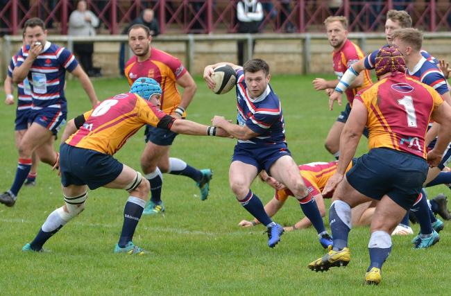 Grant Connon: The Carlisle Rugby Club man on the move in their 47-31 loss at Sandal (Photo: Bill Glendinning)