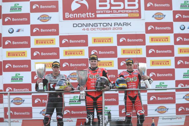 Donington podium:  Be Wiser Ducati's Scott Redding, centre, with third-placed team-mate Josh Brookes, right, and runner-up Tommy Bridewell (Photo: Double Red Photographic)