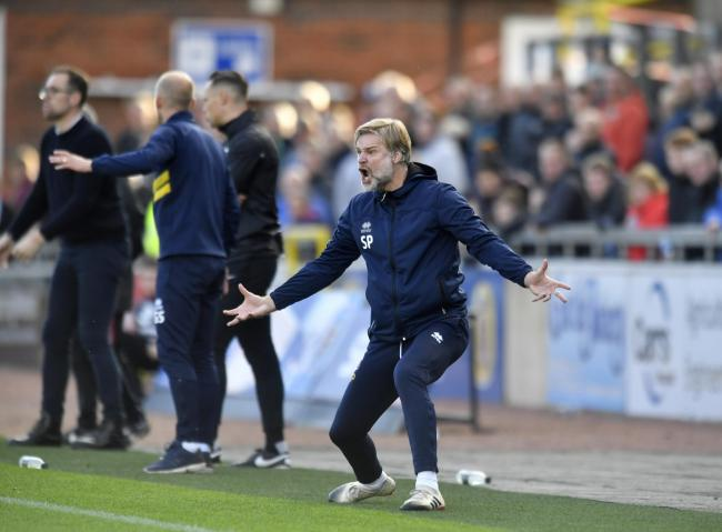 Brunton blues: Carlisle United manager Steven Pressley is animated on the touchline during his side's 4-2 home defeat by Crewe last Saturday