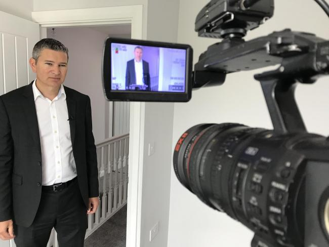 Aidan Lillington, director of Lillingtons Ltd, during film for an episode of BBC's Homes Under the Hammer.