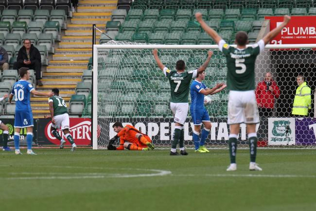 Joel Grant scores the opener for Plymouth (photo: Barbara Abbott)
