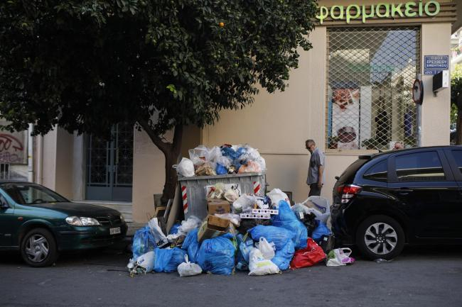 Rubbish piling up in Athens