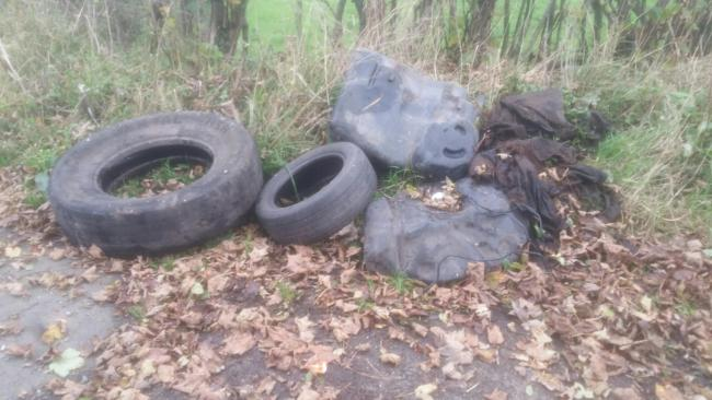 Tyres which were fly-tipped near Moota - picture Allerdale BC