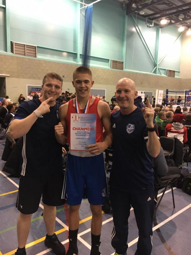 National champion: Carlisle Villa's Marc Haughan, centre, with Gary Johnston, left, and head coach Jimmy Brennan