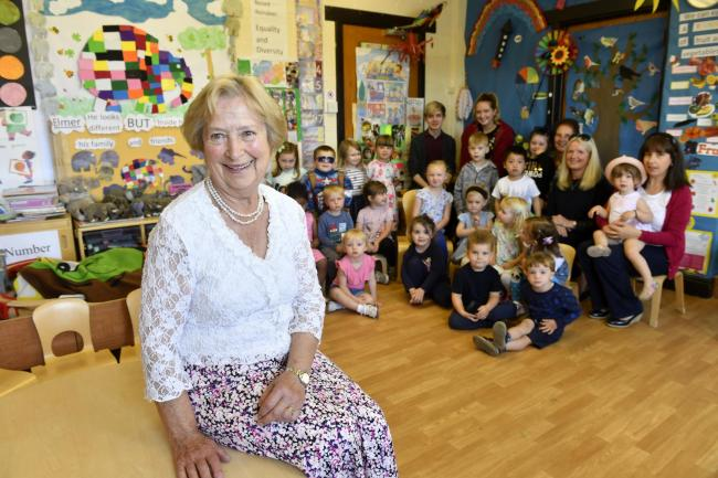 Excellence: St Peter's Preschool has been ranked 'Outstanding' by Ofsted. Margaret Bravo has been running it for 50 years