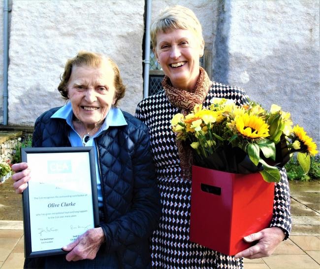 Honoured: Olive Clarke with CLA Director General Sarah Hendry at Levens Hall in Cumbria