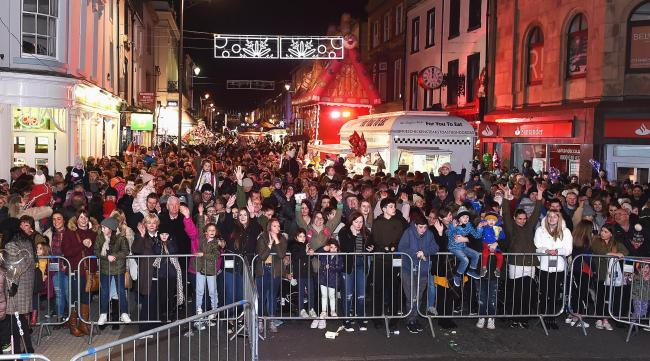 The crowd cheers as the Whitehaven Christmas lights came on last year.  Picture: Mike McKenzie