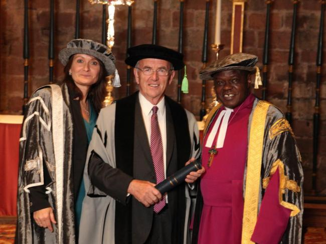 University of Cumbria Vice Chancellor Professor Julie Mennell with new honorary fellow Alan Bowe and Chancellor, the Most Reverend and Right Honourable Dr John Sentamu, Archbishop of York