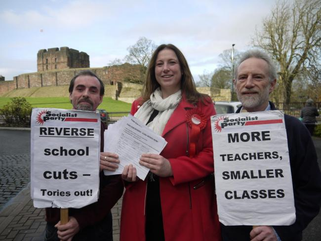 PETITION: Robert Charlesworth and Brent Kennedy from Carlisle Socialist Party with the city's Labour candidate, Ruth Alcroft        Picture: Carlisle Socialist Party