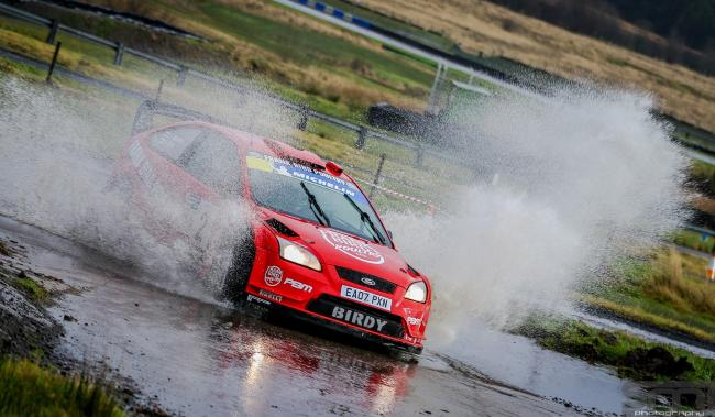 WET WEATHER: Frank Bird and co-driver Jack Morton on their way to success at the Knockhill Stages    Gavin Brown