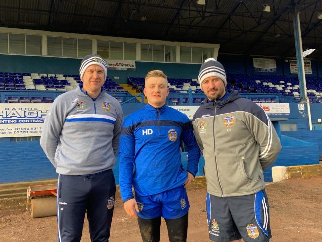 DERWENT PARK ARRIVAL: New signing Hanley Dawson, centre, with assistant coach Neil Frazer, left, and head coach Chris Thorman
