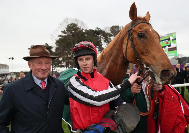 A YEAR AGO: Simply Ned and jockey Mark Walsh, with trainer Nicky Richards, in the parade ring after winning the Paddy's Rewards Club 'Sugar Paddy' Steeplechase at Leopardstown. It wasn't to be a hat-trick for the Cumbrian trainer t