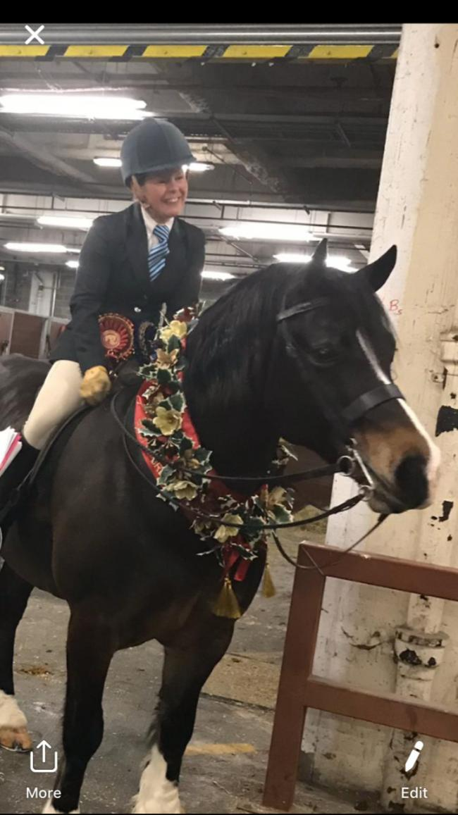 Emma Boardman with Dyffryngwy Sir Picasso after their fantastic win at Olympia