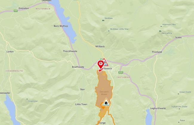 Derwent Water flood warning. Picture: Environement Agency/OpenStreetMap