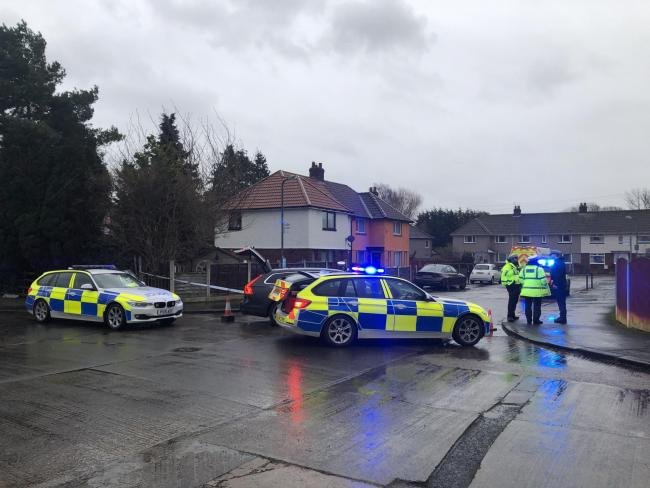 Emergency services at the scene of a crash involving a car and a pedestrian on Ullswater Road, Carlisle. Monday, January 13, 2020. Picture: Kris Tatum