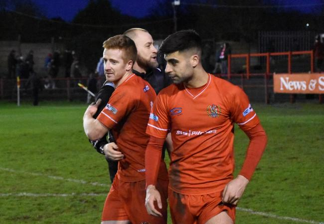 n Reds will hope to enjoy more scenes of celebration this weekend like those after their 2-0 win over promotion hopefuls Marske United at Borough Park last Saturday				   BEN CHALLIS