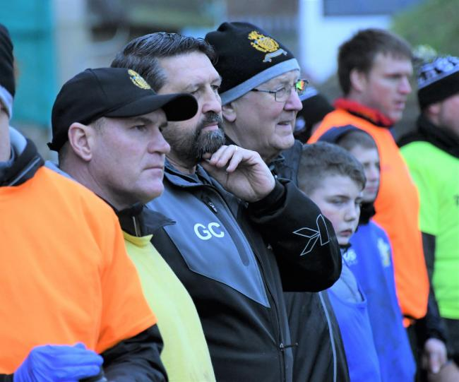 TAKING IT ALL IN: Haven coach Gary Charlton, centre, watches the action against Crusaders                       Ben Challis
