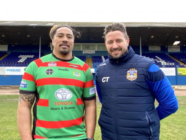 Fuifui Moimoi has re-signed for Workington Town, pictured here with head coach Chris Thorman. Picture: Gary McKeating