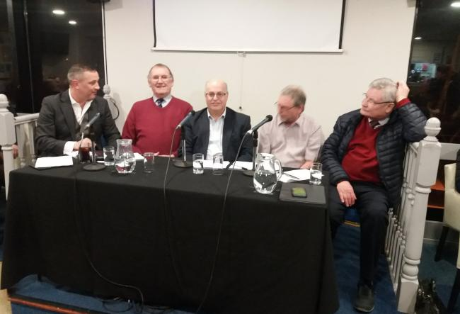 The panel at tonight's forum (l-r) David Holdsworth, Steven Pattison, Nigel Clibbens, Billy Atkinson and John Nixon