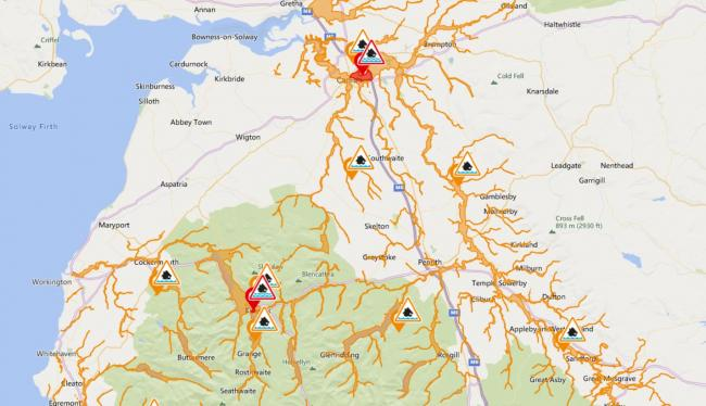 Picture: Environment Agency/OpenStreetMap. Flood alerts/warnings, Cumbria, February 20 2020