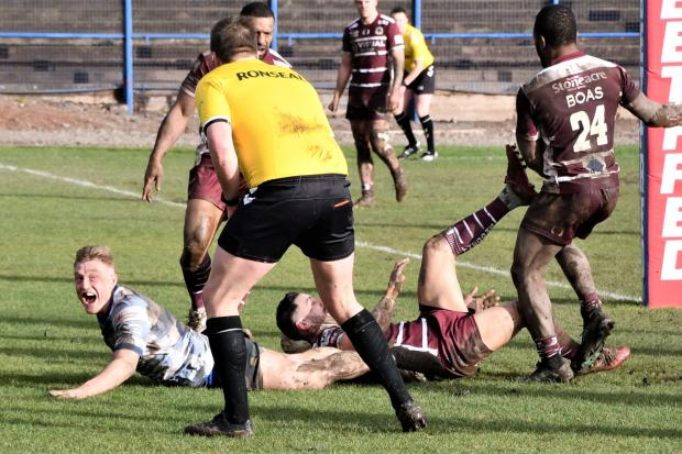 Workington Town v Doncaster. Hanley Dawson scores Workington's first try. Picture: Ben Challis