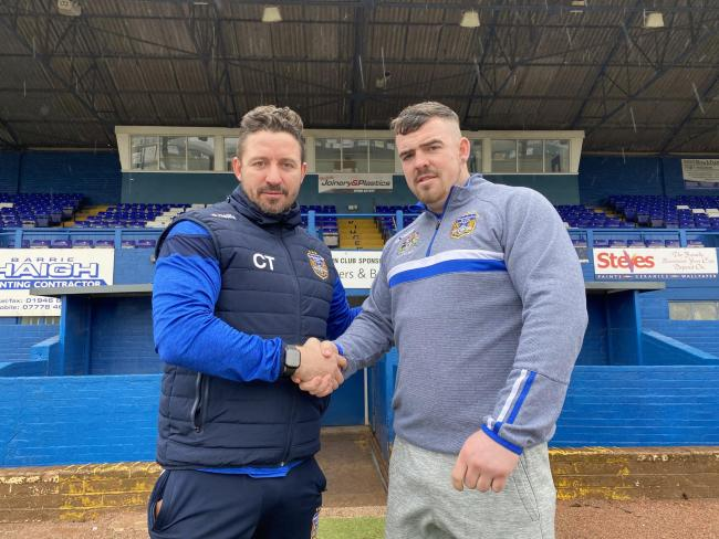 Workington Town head coach with new signing Ryan Wilson. Picture: Gary McKeating