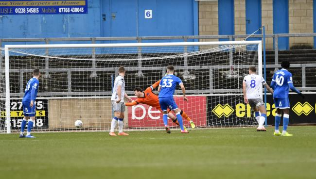 Adam Collin can't keep out Kwame Poku's Colchester opener (photo: Stuart Walker)