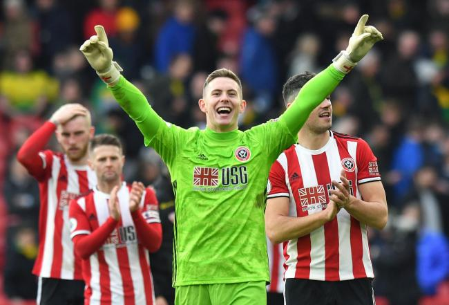 Sheffield United goalkeeper Dean Henderson celebrates their victory after the final whistle during the Premier League match at Bramall Lane, Sheffield. Picture: Anthony Devlin/PA Wire