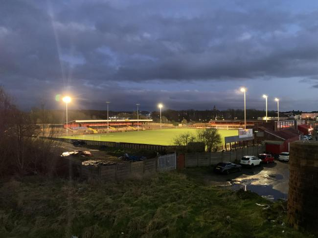 Borough Park in Workington under the lights ahead of Workington Reds' NPL North West Division game against Mossley
