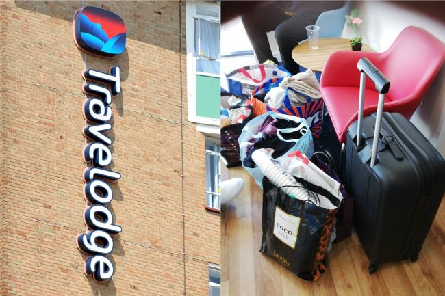A Travelodge sign and Sharon Chambers' daughter's belongings in a foyer