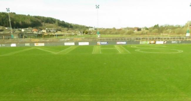 The letters of the NHS have been mowed into the turf at the Recreation Ground, Whitehaven, by groundstaff