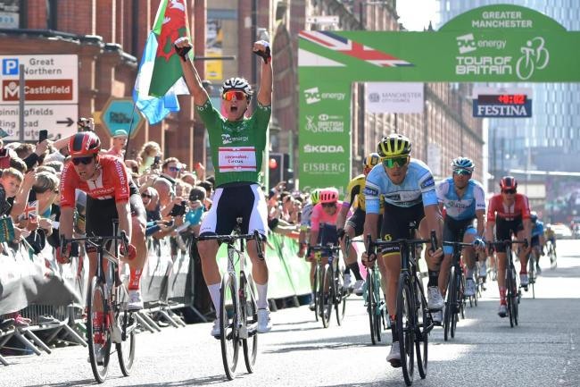 File photo dated 14-09-2019 of Mathieu Van Der Poel celebrates winning stage eight of the OVO Energy Tour of Britain from Altrincham to Manchester. PA Photo. Issue date: Thursday May 14, 2020. Tour of Britain becomes latest cycling event to be called off
