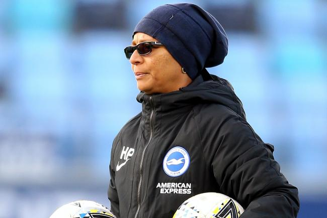 Brighton and Hove Albion's manager Hope Powell wants relegation from the WSL scrapped this season.